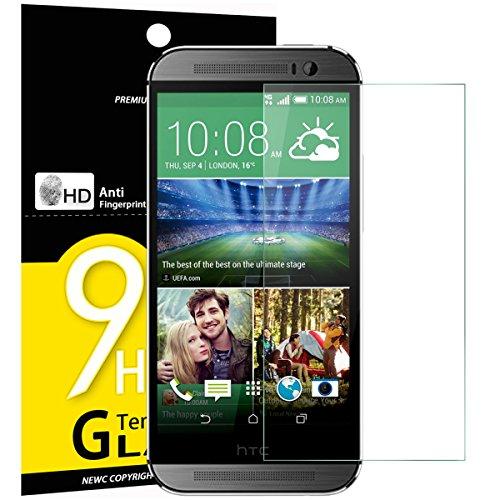 NEW'C 3 Stück, Schutzfolie Panzerglas für HTC One M8, M8s, Frei von Kratzern, 9H Festigkeit, HD Bildschirmschutzfolie, 0.33mm Ultra-klar, Ultrawiderstandsfähig