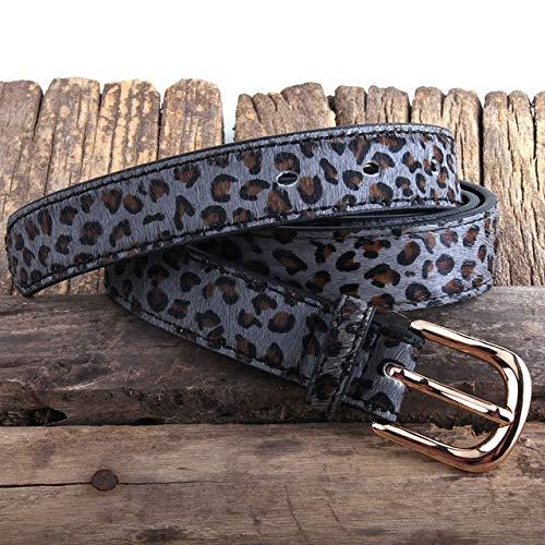 beizi Cinturón de piel de crin con lunares de leopardo de moda cinturones de piel auténtica para mujer (longitud del cinturón: 110 cm, color: gris)