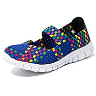 Breathable cushioned insole, memory foam footbed Four colors to choose from, purple, pink, grey, and so on Lightweight style, suitable for running or walking also daily working Look chic in basket weave stretch elastic slip-on flats Never out of styl...