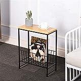 Revistero Mesa auxiliar Mesa auxiliar rectangular con el metal cesta del almacenaje for la sala de estar o dormitorio para Libro, Periódico, Carta, Documento, Placa ( Color : Black , Size : 40×20×50 )