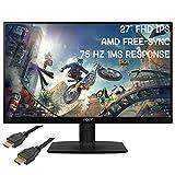 2020 Premium Acer 27' Full HD (1920 x 1080) 75Hz IPS Monitor AMD Free-Sync 1ms Visual Response + iCarp HDMI