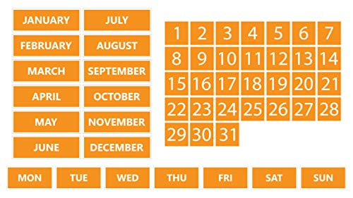 Whiteboard Calendar Magnet Non-Abbreviated Bundle (Dates, Days of The Week, Months) by DCM Solutions (Orange, 0.75'x0.75')