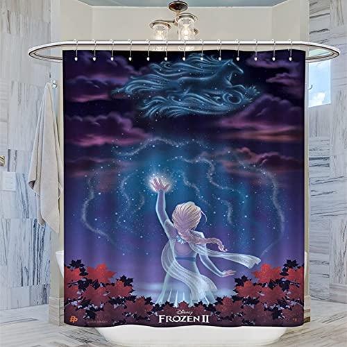 DRAGON VINES Disney Frozen Disney Animated Fantasy Movie Gardinen Snow Nokk und Queen Elsa Teen Duschvorhang Dekorative Badezimmer Gardinen 183 x 183 cm