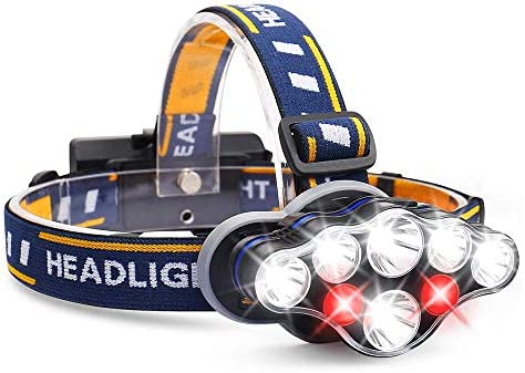 AOBISI Headlamp 1300 Lumen 8 LED Headlight with White Red Lights USB Rechargeable Waterproof product image