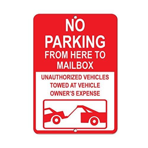 Bair89Pulla geen parkeerplaats niet blokkeren brievenbus ongeautoriseerde voertuigen getrokken aluminium metalen teken 8x12 inch