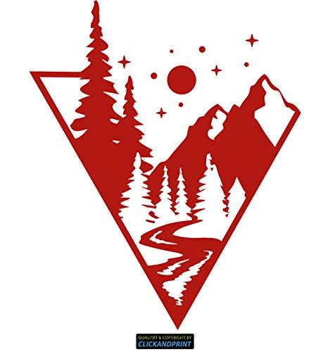CLICKANDPRINT Aufkleber » Bergszene, 140x115,2cm, Rot • Dekoaufkleber/Autoaufkleber/Sticker/Decal/Vinyl