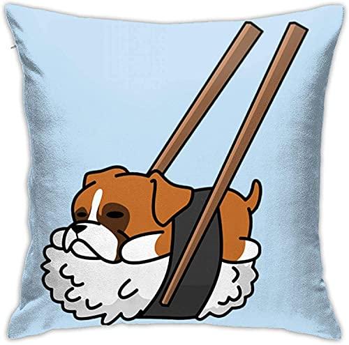 BONRI Throw Pillow Case, Funda de Almohada de Raqueta de Tenis, Funda de Almohada Decorativa Cojín Cuadrado para sofá Sofá Coche 16x16-Sushi Dachshund1