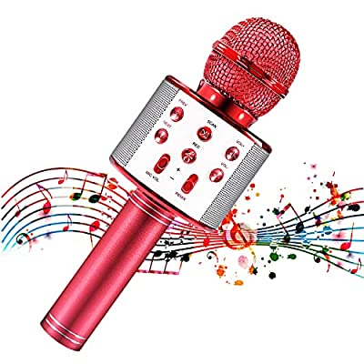 Microphone for Kids, Kids Microphone for Singing, Bluetooth Microphone Wireless with Speaker, Kids Karaoke Machine with Portable Microphone, Red