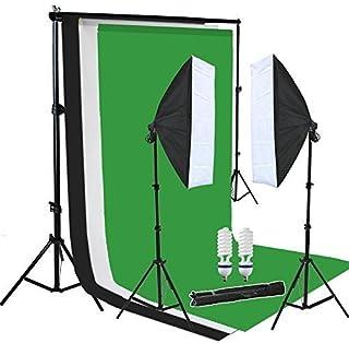 PMS 2x 50x70cm softbox continua Iluminación Kit para estudio fotográfico Soporte de Fondo con 3*fondos de la tela Muselina algodón (blanco,negro,verde) Sistema de fondo
