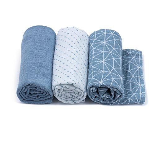 Urban Kanga Langes Coton Bébé 70 X 70 cm en Tissu de Mousseline - Pack de 3 (Bleu)