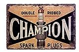 DiiliHiiri Cartel de Chapa Vintage Decoración, Letrero A4 Estilo Antiguo de metálico Retro. (Champion Spark Plugs)