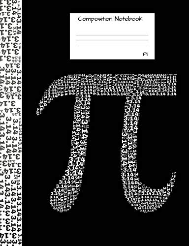 Pi Composition Notebook: Graph Paper 5x5 Blank Book to write in for school, take notes, for programmers, physics students, math teachers, homeschool,black and white cover