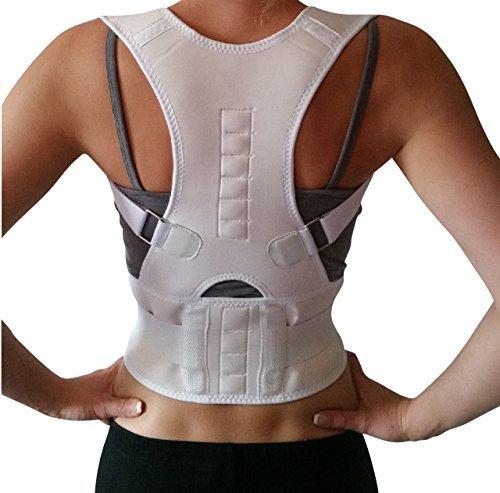 AGIA TEX Geradehalter für Rücken Schulter Haltungskorrektur Rückenstabilisator Wirbelsäule für Damen und Herren Neopren Schulterträger verstellbar atmungsaktiv L Weiß