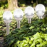 LED Solar Kugel Leuchte aus Glas und Edelstahl (6er Set)