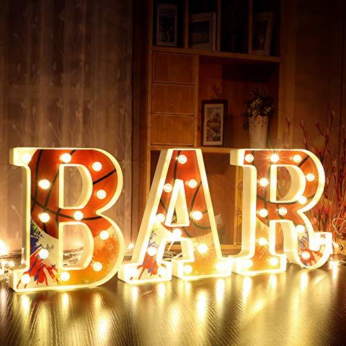 LED Bar Signage Lights, Light Up Bar Signs - Basketball Printed Night Light Bar, Tavern, Bistro, Party, Wall Decor - BAR