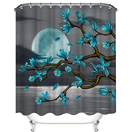 Kalormore Grey Turquoise Floral Shower Curtain Magnolia Flowers Moon Sea Waterproof Curtain for Bathroom Stall with Hook 72x72