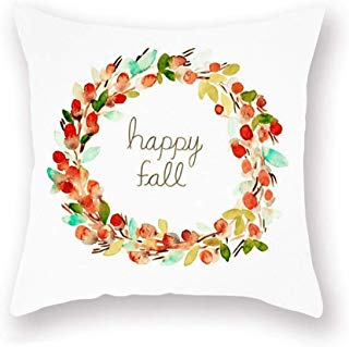 Smilyard Happy Fall Quote Throw Pillow Case Welcome Autumn Decor Thanksgiving Pillow Cover Super Soft Watercolor Flower Plant Print Pillowcase Outdoor Decor 18x18 Inch for Bedroom Sofa(Happy Fall)