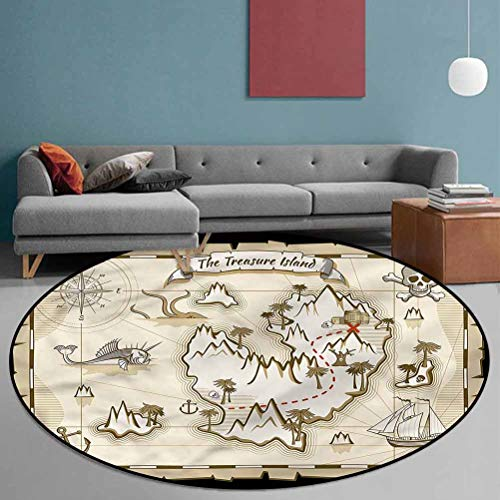 Island Map Polyester Non-Slip Round Area Rug for Bedroom and Hard Floor Skull Pirate Ship Kraken 5'6' in Diameter