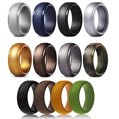 SOVSEFD Silicone Wedding Ring Band for Men 12 Pack...