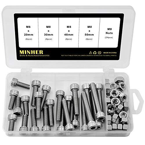 Caja de Combinación de Tuerca y Perno Allen M8 Juego de Tornillos Allen Mecánicos de Acero Inoxidable 304 20mm 30mm 40mm 50mm