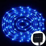 Jasmin FS Luz de la Cuerda de la Cubierta de la Prenda Impermeable 50 LED de la Vida del Panel Solar de los 5m con el Cable extendido 400-600LM de los 2m Luz Decorativa led (Color : Blue Light)
