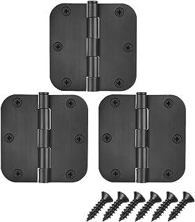 JQK Door Hinges Black, Rounded 3.5 Inch x 3.5 Inch Interior Door Hardware Matte Black, 3 Pack, HDH200-BK-P3