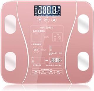 Báscula de baño Digital, báscula, Escala de Grasa Corporal Piso científica electrónica Inteligente LED Peso baño Digital Equilibrio Bluetooth App Android o iOS Huangwei7210 (Color : Pink)