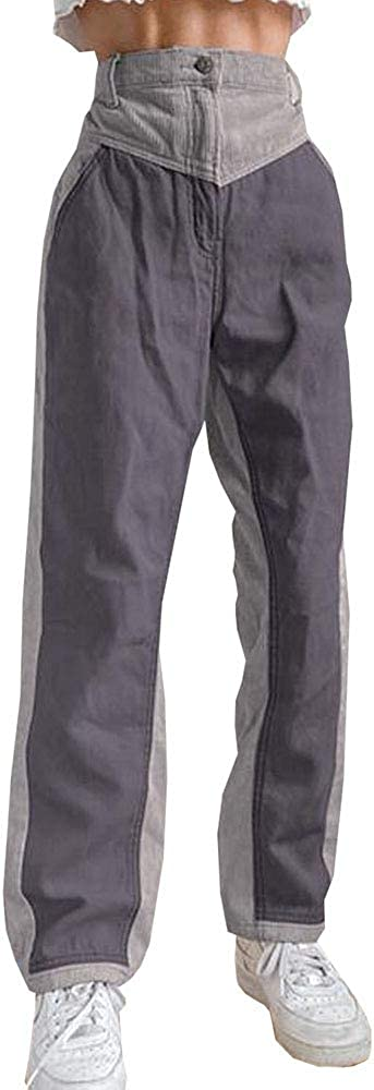 HoGadget Women's High Waist Color Block Cargo Pants Patchwork Straight Wide Leg Corduroy Pants Streetwear with Pockets