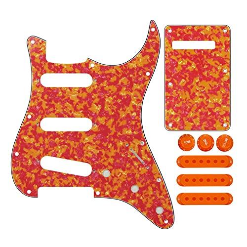 Accesorios de Guitarra Conjunto de 11 Orificios Strat SSS Guitarra eléctrica Pickguard Placa Trasera Cubiertas de Recogida 50/52 / 52mm Puntas de puntillas (Color : Red Agate 1)