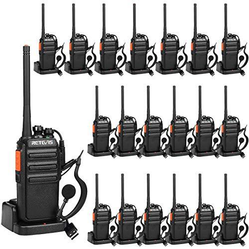 Retevis RT24 Walkie Talkies Professionele Portofoon PMR446 Vergunningsvrije 16 Kanalen CTCSS/DCS VOX Walkie Talkie met Headset en USB-laadstation (20 Stuks, Zwart)