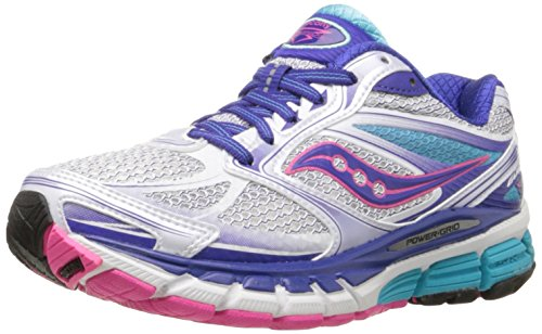 Saucony Women's Guide 8 Running Shoe,White/Twilight/Pink,7.5 N US