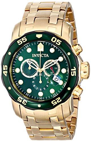 Invicta 80072 Men's Pro Diver Quartz Chronograph Green Dial Yellow Gold Steel Dive Watch