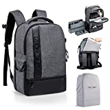 K&F Concept - Mochila para cámara de fotos réflex de viaje, impermeable para ordenador de 15 pulgadas, incluye funda impermeable para DSLR, Canon, Nikon, Sony, Olympus (17L), color gris