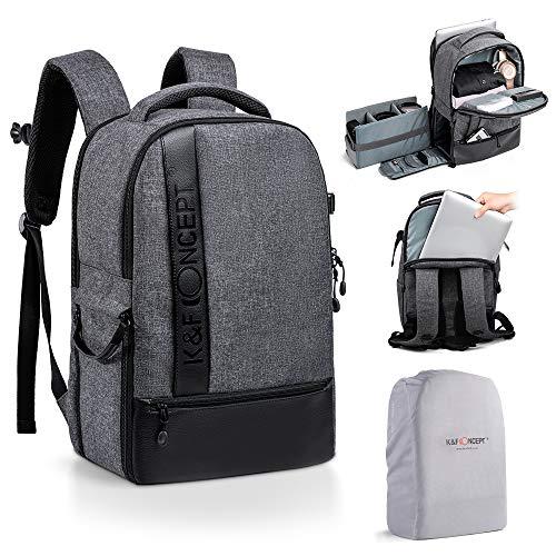 K&F CONCEPT Rucksack für Spiegelreflexkamera, Reisen, wasserdicht, für 15 Zoll (38,1 cm), mit wasserdichter Schutzhülle, für DSLR Canon Nikon Sony Olympus 17 l, Grau