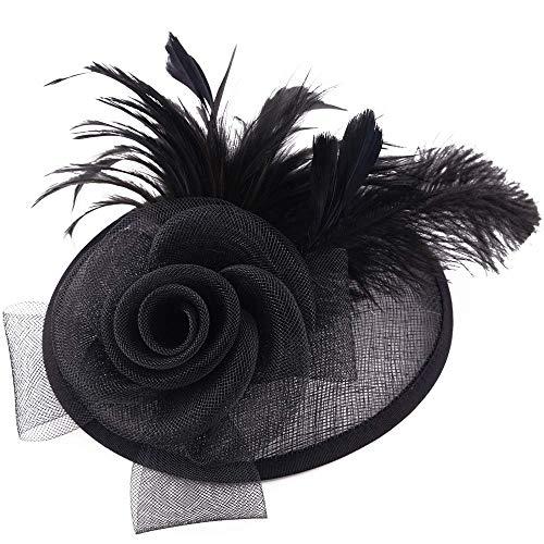Zwarte fascinator elegante veer hoed dames met bloemen haar clip hoofdtooi bruiloft cocktail haarclip hoed voor thea party JGA kerk hoofdwear voor meisjes vrouwen
