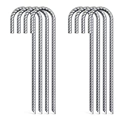 Pack of 10 Tent Stakes//Holdowns Heavy Duty 3//8 Diam Rebar 12 L x 2-1//2 W