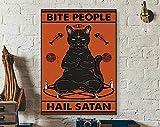 Bite People Hail Satan Poster, Black Cat Satan Poster, Cat
