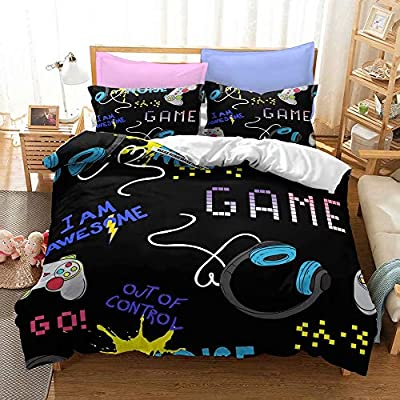 Yumhi Gamepad Playstation 4 Controller Bed Set Bedding Duvet Cover Without Sheet Comforter for Boys Full Size N7