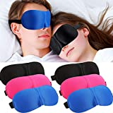 6 Pieces 3D Sleep Eye Cover Adjustable Eye Cover Eyeshade Deep Molded Contoured Blindfold with Elastic Straps for Sleeping Light Blocking, Black, Deep Blue and Rose Red