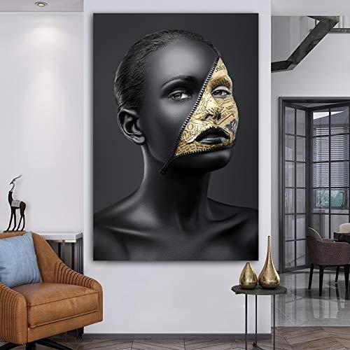 Geiqianjiumai Arte Africano Mujer Negra Tigre Rosa pájaro -Cuadro sobre Lienzo - Arte de los Carteles de la Sala de Estar del Dormitorio- Affiche-Pintura sin marco-60X90cm