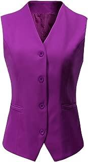 Womens V-Neck Suit Vest Two Button Formal Business Tuxedo Waistcoat Sleeveless Jacket Coat Top