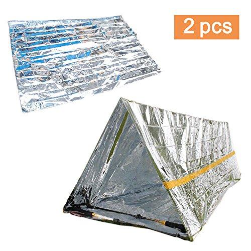 Amacoam 2 Stück (Rettungsdecken + Notfallzelt), Outdoor Erste Hilfe Outdoor Decken Rettungsdecke, Decken Einfache Zelte Sonnenschutzdecken Survival Set mit Notfall Zelt und Folien Schlafsack (Silber)