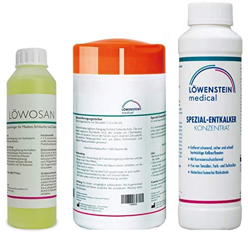 3er Set Löwosan CPAP Masken Maskenreiniger für Schlafmasken + Reinigungstücher Zitrusduft + spezial Entkalker für für CPAP Geräte aller Marken