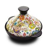 Cacerola de cerámica Antiadherente de Cocina de cerámica marroquí Saludable con Tapa Sopa Caliente de Arcilla Resistente al Calor para Sopa de estofado Lento A 2l