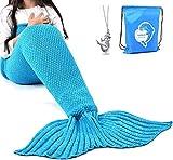 LAGHCAT Mermaid Tail Blanket Crochet Mermaid Blanket for Kids, Soft All Seasons Sleeping Blankets, Classic Pattern (56'x28', Blue)
