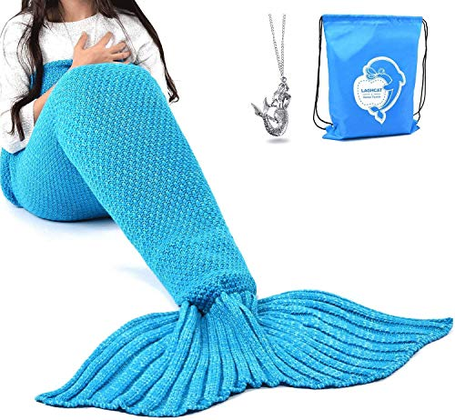Image of the LAGHCAT Mermaid Tail Blanket Crochet Mermaid Blanket for Kids, Soft All Seasons Sleeping Blankets, Classic Pattern (56