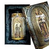Heraldys.- Porta Vela con la Figura Virgen del Carmen en Relieve 14 cms. en Resina, Pintada a Mano. ...