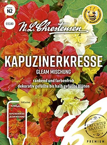 Kapuzinerkresse Gleam Mischung, rankend und farbenfroh, bienenfreundlich, Samen