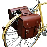 SENQI Retro Bicycle Rack Bag Leather Rear Rack Bike Bags Robust Rear Seatpost Bag for Retro Bicycle Saddle Rack Accessories