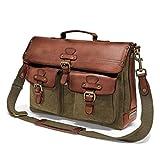 DRAKENSBERG Messenger Bag - Bolsa Bandolera y Bolso para portátil de 15' para Hombres en diseño Retro Vintage, Hecho a Mano, 15L, Lona y Cuero, Verde Oliva, DR00121